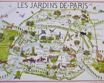 "Poster ""Les jardins de Paris"", illustrated map and plan of Paris with its parcs, gardens, monuments, flora and fauna"