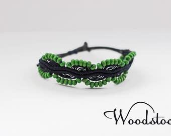 Boho bracelet with green beads, summer bracelet,  beaded bracelet, green bracelet, dark blue bracelet,  micro macrame bracelet