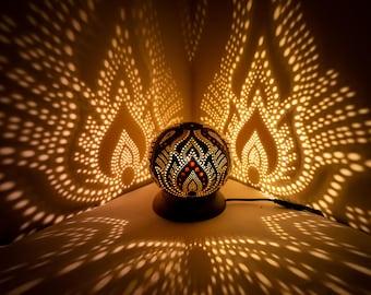 Minimal Lamp No.1- Deco Boho Table Lamp, Handmade Gourd Lamp,  Moroccan Turkish lampshade, coconut night calabash light, housewarming gift