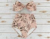 Bikini Set - Ladies 2 Piece High Waist Flattering Bikini - Pretty Pink Floral Pattern Womens Swimwear - Handmade Unique Design