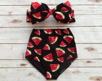 fc47b31c2c10a Bow Bandeau Retro Bikini - Vintage Style High Waist Pin-up Bathing Suit  Swimwear - Black With Bold and Cute Watermelon Print Design