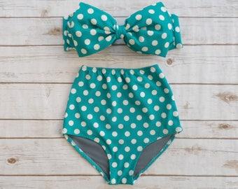 799f98cf70d48 Bikini High Waist Womens Pin Up Retro Swimsuit - Vintage Style Bow Bathing  Suit - Classic Teal White Polka Dot Spot Glamorous Pinup Swimwear