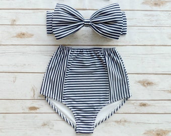 211af08674066 Bikini Navy White Stripe High Waist Swimsuit - Ladies Pin-up 50s Retro  Classic Swimwear
