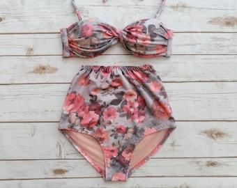 2cc147d33d Bikini haut taille haute - Style Vintage rétro Pin up maillots de bain joli  Pastel Rose gris Floral Rose imprimer 2 Piece maillot de bain Honeymoon  maillot ...