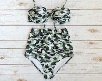 efa62a2b74 High Waisted Bikini - Retro Vintage Style Swimwear - Camo Army Camouflage  Print Black White Khaki Swimsuit - High Waist 2 Piece Bathing Suit