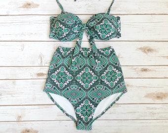 Hoch Taillierte Bikini Badeanzug Retro VintageStil Camo - Fliesen vintage stil