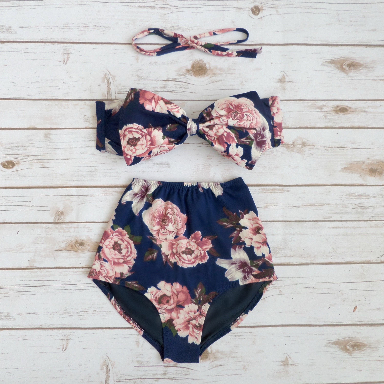 8203e7f6c59c2 Ladies Bikini Vintage Style High Waist Cute Retro Pin-up Bow | Etsy