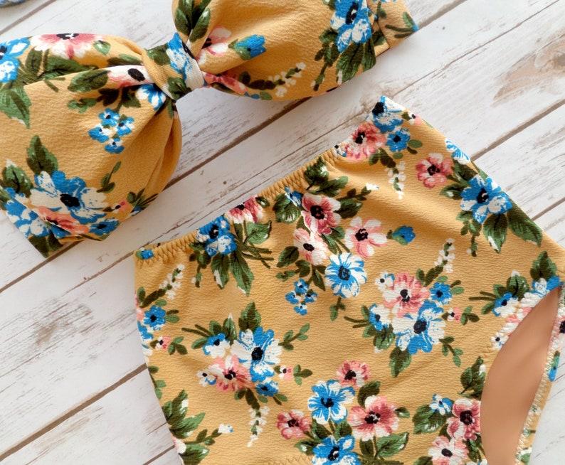 Mustard Yellow Cute Floral 2 Piece Swimsuit Bikini Set Ladies High Waisted Vintage Style Retro Bow Pin-up Bathing Suit Pretty Swimwear
