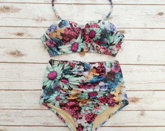 Bustier Bikini Swimsuit - Vintage Style High Waisted Pin-up Retro Style Swimwear - In Glamorous Bold Summer Floral Print - Unique & Cute!