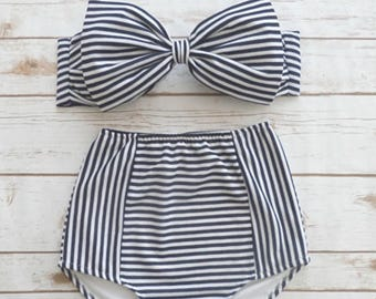 Bikini High Waisted Swimsuit - High Waist Pin-up  Nautical Sailor Navy Blue White Stripe Vintage Style Bow Swimwear High Waist Bathing Suit