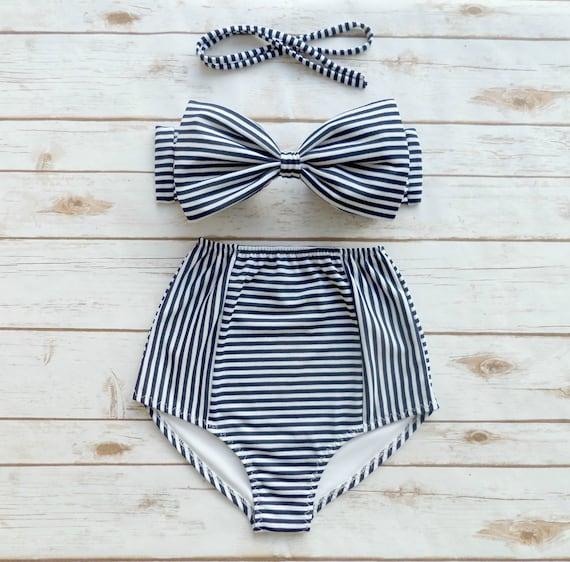 f301233cb5ca2 Bikini Navy White Stripe High Waist Swimsuit Ladies Pin-up