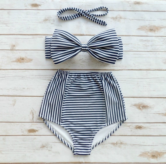 Bikini Navy White Stripe High Waist Swimsuit Ladies Pin-up  3802a91605a