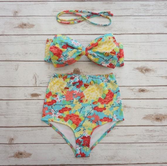 4494b1078a Bikini High Waisted Swimsuit Vintage Style Retro Pin