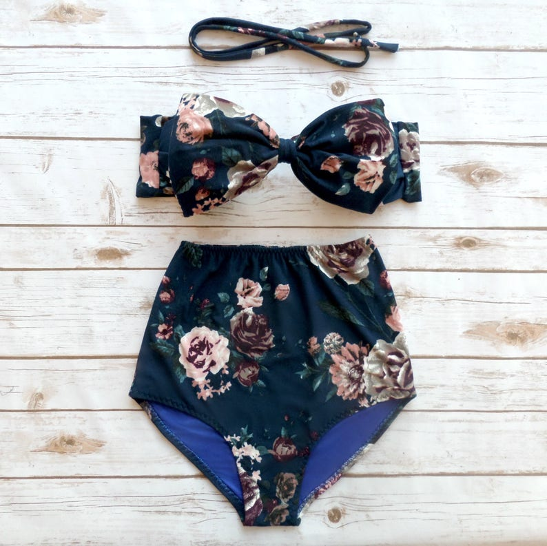 ba1171da3992f Bow Bikini Vintage Style High Waisted Retro Pin-up Bathing | Etsy