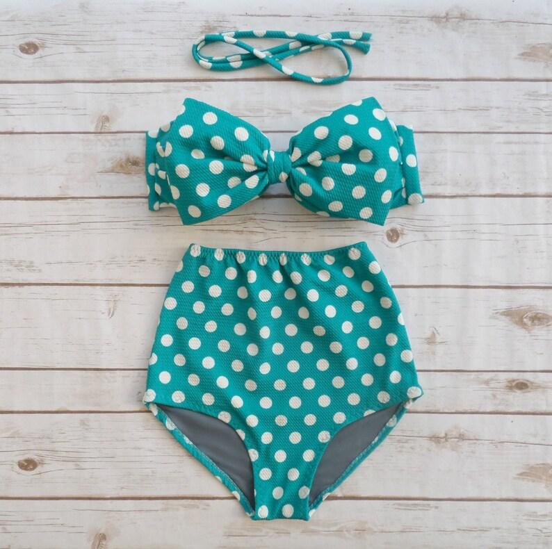 Polka dot bikini white and teal-2237
