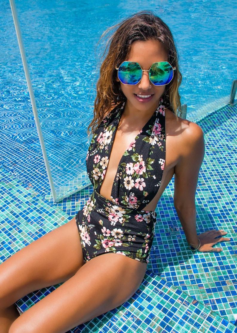 84cb56e45198 Swimsuit Black Floral Ladies One Piece High Waist Vintage | Etsy