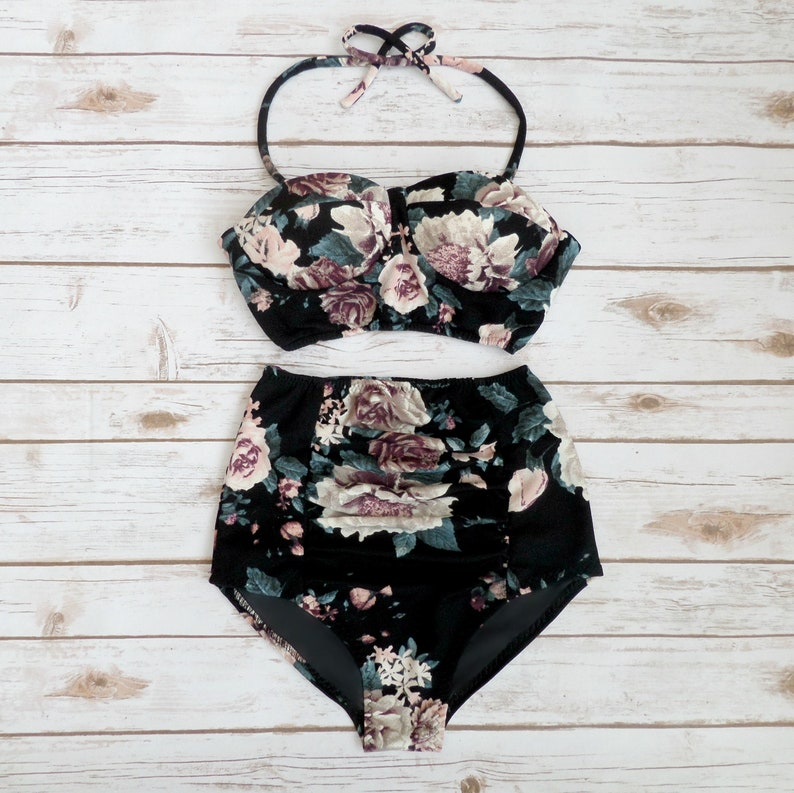 Retro 2 Piece Vintage Style Black Bold Floral Pretty Pin-up Bathing Suit Swimwear Bustier Bikini High Waist Ruched Panel Briefs Swimsuit
