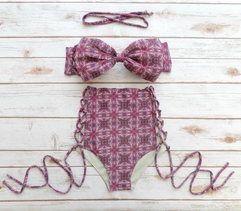 150d1201a0 Bow Bandeau Bikini Vintage Style High Waisted Swimwear | Etsy