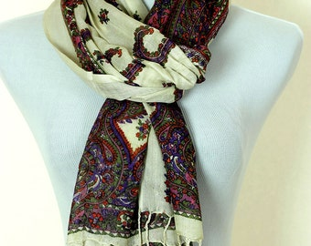 Floral Paisley Scarf (Purple & Red)
