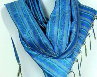 Striped Print Scarf (Ocean Blue)