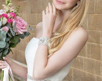 LILLIAN Vintage Inspired Crystal Bridal Cuff Bracelet