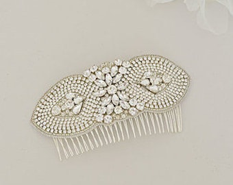 LILAH Large Crystal and Pearl Vintage Inspired Bridal Hair Comb