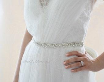 Slim Crystal Wedding Dress Belt Bridal Sash
