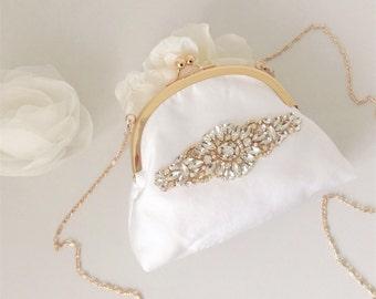 Bridal Bag, Bridal Clutch Bag, Kiss Lock Bridal Bag