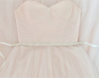 JEANETTE Crystal and Pearl Wedding Dress Belt/Sash