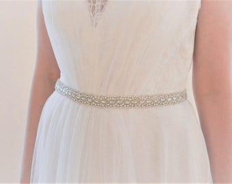 MERYL Vintage Inspired Crystal Bridal Belt/Sash