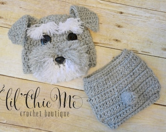 Baby Puppy Hat & Diaper Cover Set/Crochet Schnauzer Newborn Photo Prop