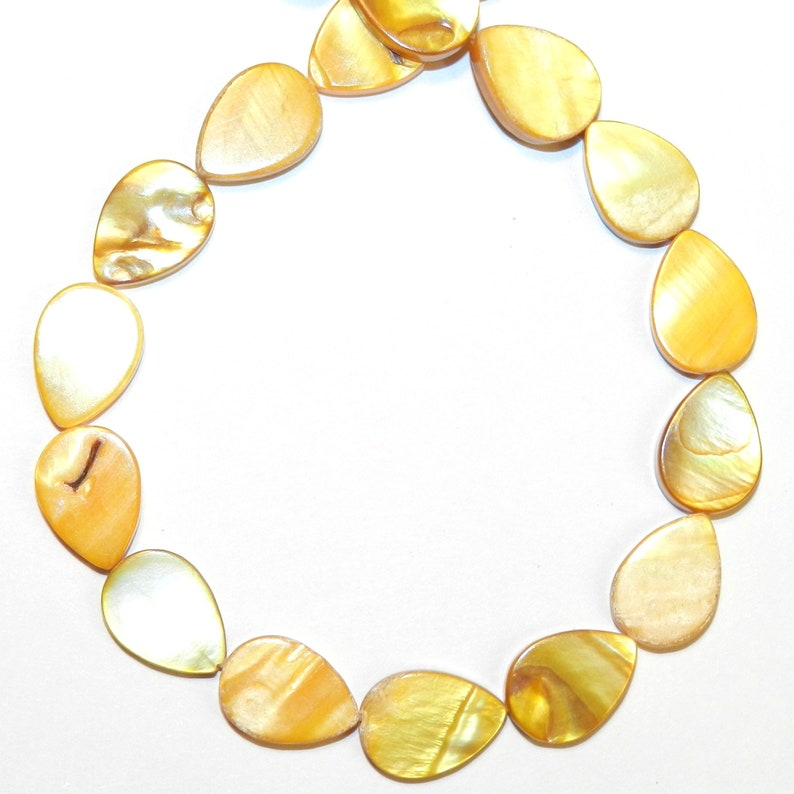 MP2142 Yellow 16mm Flat Teardrop Mother of Pearl Shell Gemstone Beads 15-inch Strand
