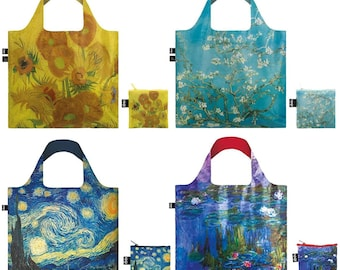 Save 25% off LOQI Artistic Tote reusable Bag set of 4 shopping Bags, van Gogh Sunflowers, Almond Blossom, Starry Night & Monet Water Lilies
