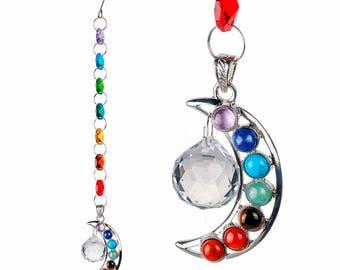 "Rainbow Chakra Silver Moon 10"" Suncatcher Crystals"