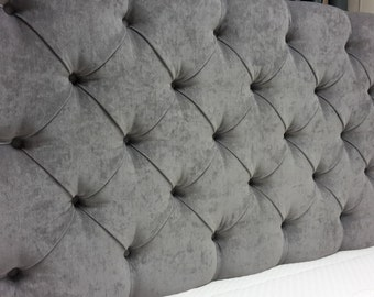 "Downham Grey Deep Buttoned 4ft Small Double 28"" High Headboard"