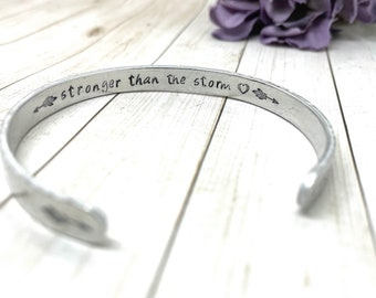 Cuff bracelet textured strong than the storm quote inspirational jewelry