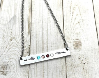 Birthstone Necklace | boho arrow | gift for her
