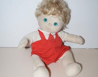 My Child Doll Platinum Blonde Blond Pink Lips Cheeks Blue Eyes Curly Seersucker Light Rainbow T Bars China Boy Vintage Mattel Canada Inc