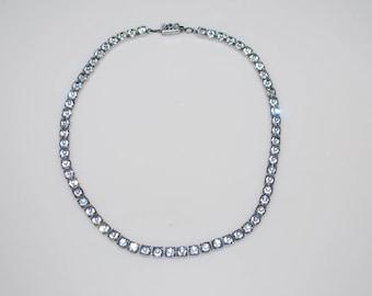"Vintage Rhinestone Collar Choker Necklace 14"""