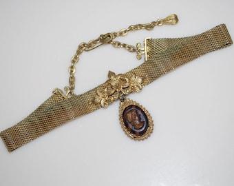 Vintage Florenza Cameo Collar Choker Necklace