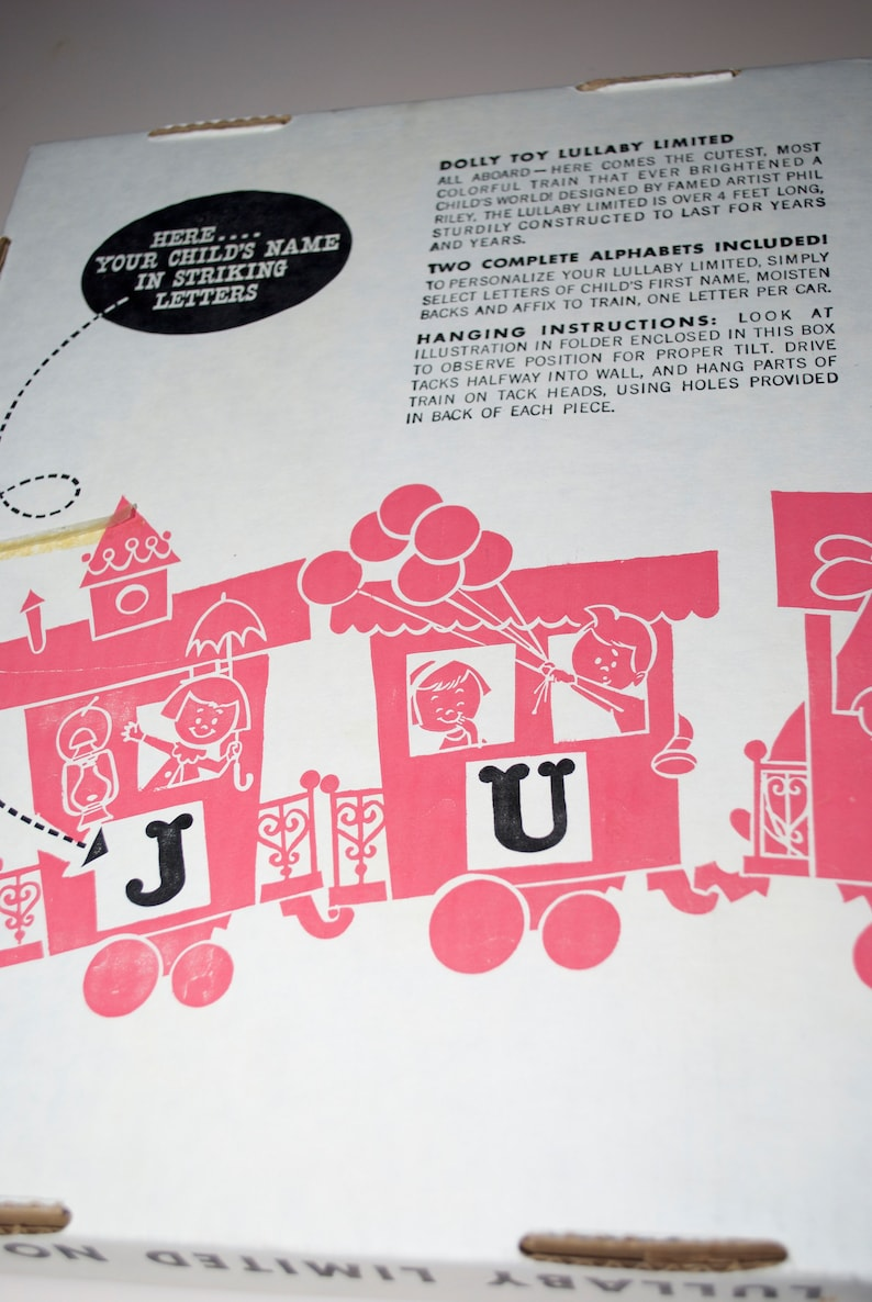 Lullaby Limited Dolly Toys Personalize Pin Up Train Wall Hanging for Nursery Baby/'s Room