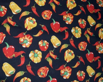 """Peppers """"Alfresco"""" Black Red Orange Yellow Fabric by Hoffman"""