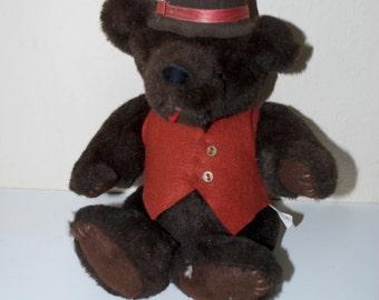 "Kent Collectibles Jean Steele Originals 1985 Brown Teddy Bear with Red Felt Vest & Hat 12"""