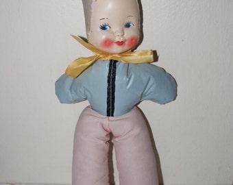 "Vintage Cone Head Hat Doll with Satin Cloth Rag Body 18"""