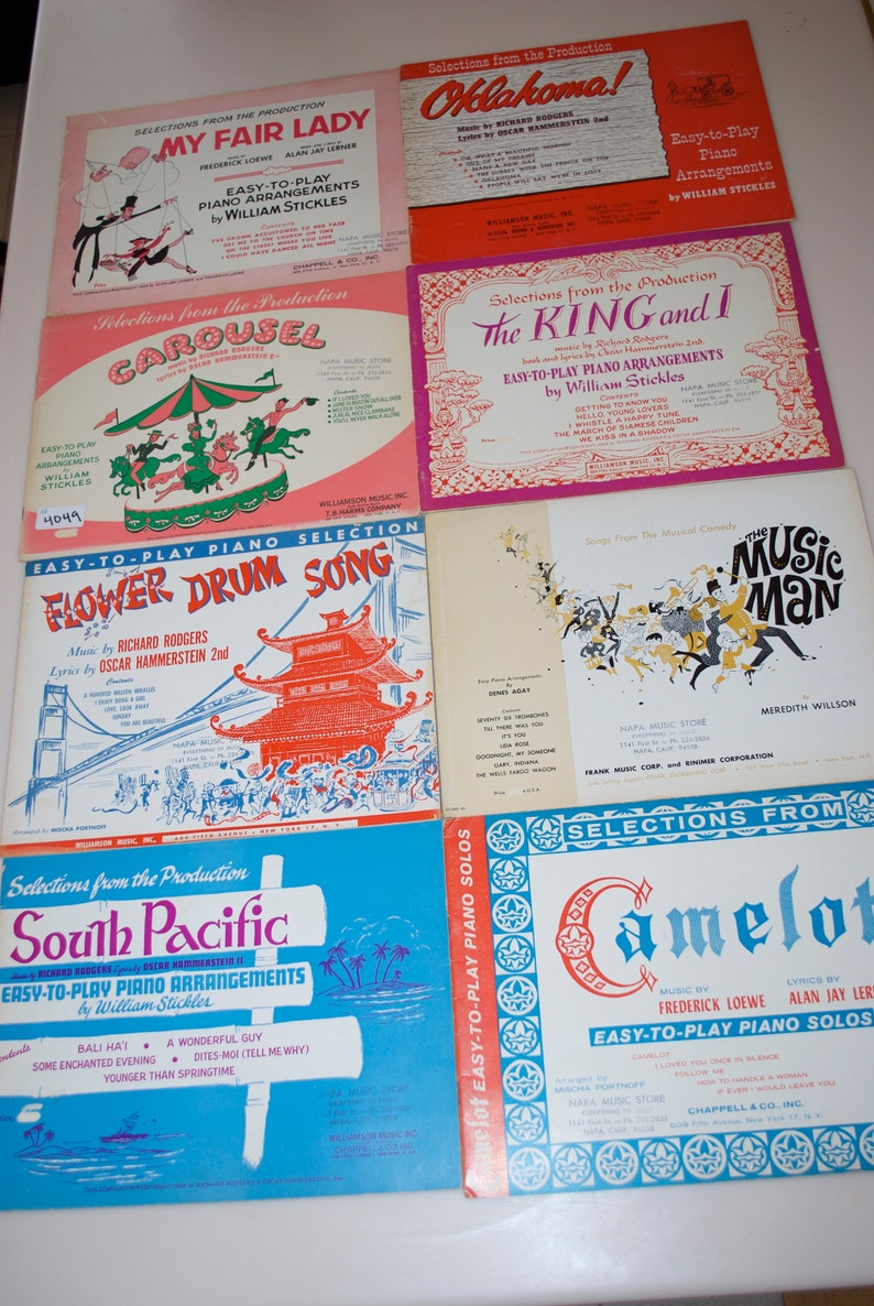 Choose One: Sheet Music from Famous Musicals My Fair Lady, Oklahoma,  Carousel, King & I, Flower Drum Song, Music Man, South Pacific, Camelot