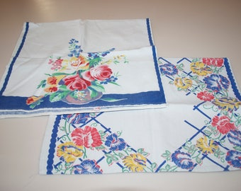 Vintage Floral Hand or Dish Towels Blue Red Flowers