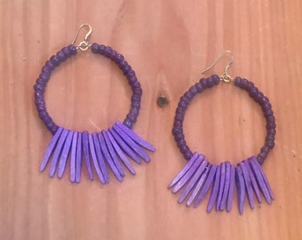 Dusk Until: Dyed Coconut Shell and Bead, Hoop Earrings