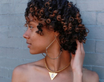 Sun Burst: Plated Brass and Chain, Half Hoop Earrings
