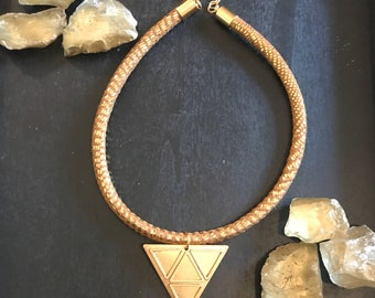Divinity: Adjustable, Brass Triangles on Gold, Leather, Cord Necklace