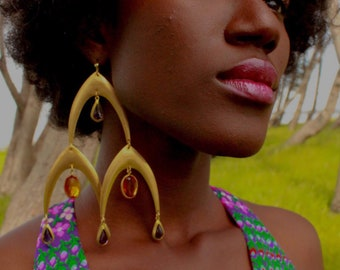 Jewel: Brass and Vintage, Acrylic Bead Earrings